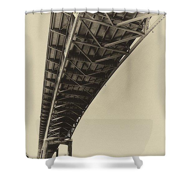 Ship Canal Bridge Old Yellow Shower Curtain