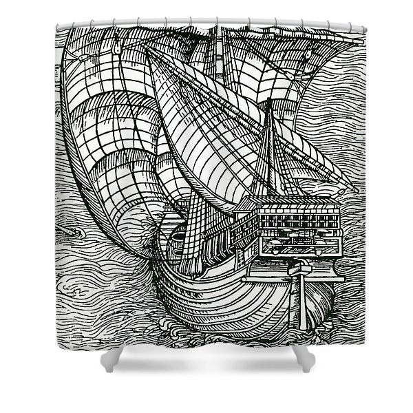 Ship From The Time Of Christopher Columbus Shower Curtain