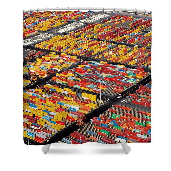 Shipping Container Yard Shower Curtain