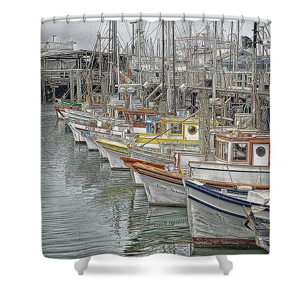 Ships In The Harbor Shower Curtain