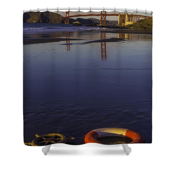 Ships Wheel And Life Ring Shower Curtain