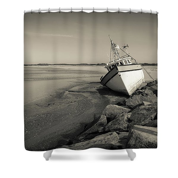 Shipwreck Provincetown Breakwater Cape Cod Ma Shower Curtain