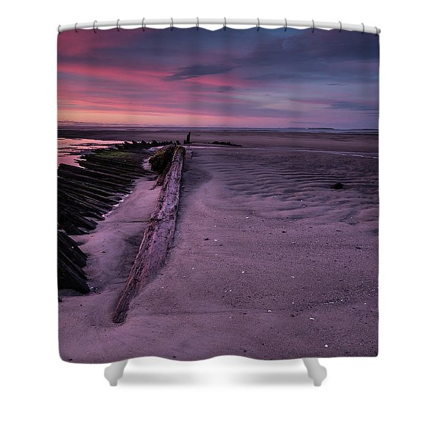 Shipwreck Sunrise  Shower Curtain