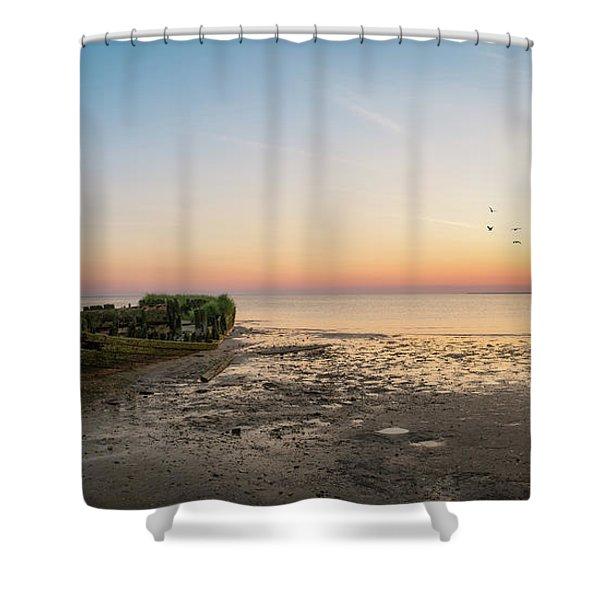 Shipwreck Sunset Panorama  Shower Curtain