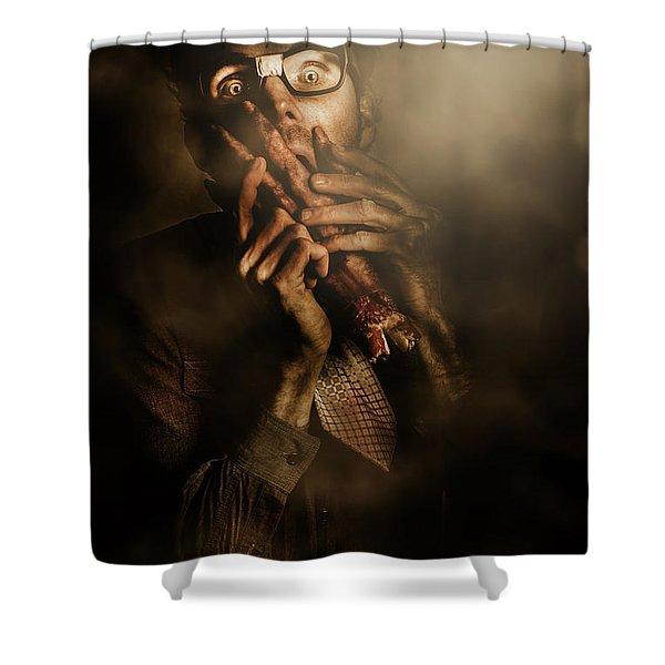 Shock Of Terror On Fright Night  Shower Curtain