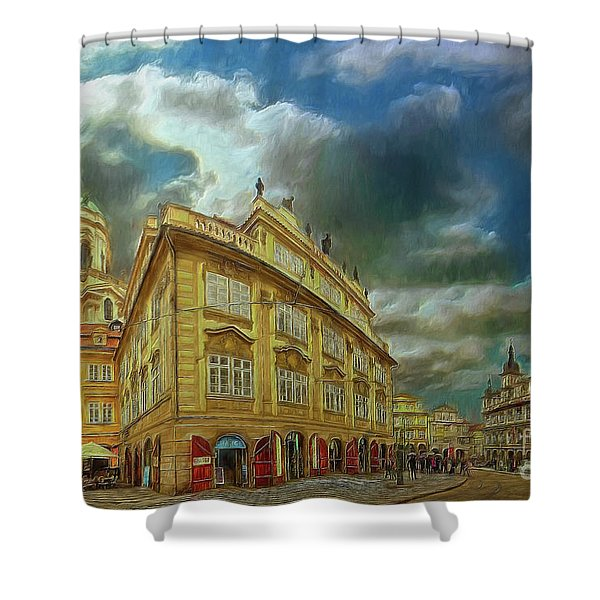 Shooting Round The Corner - Prague Shower Curtain