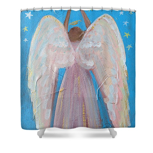 Shooting Star Angel Shower Curtain