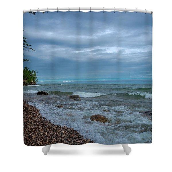 Shoreline Clouds Shower Curtain