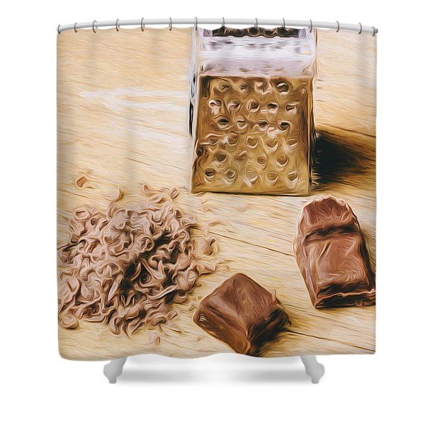 Shredded Chocolate Flakes Fine Art Drawing Shower Curtain