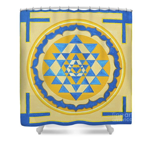 Shower Curtain featuring the photograph Shri Yantra For Meditation Painted by Raimond Klavins