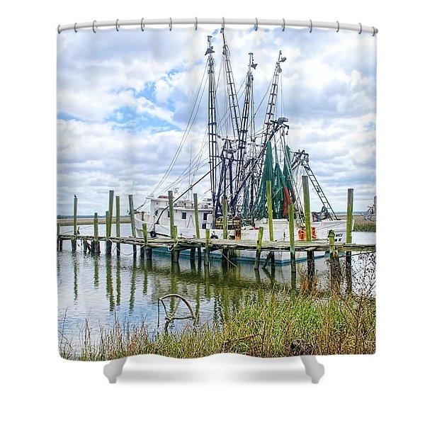 Shrimp Boats Of St. Helena Island Shower Curtain