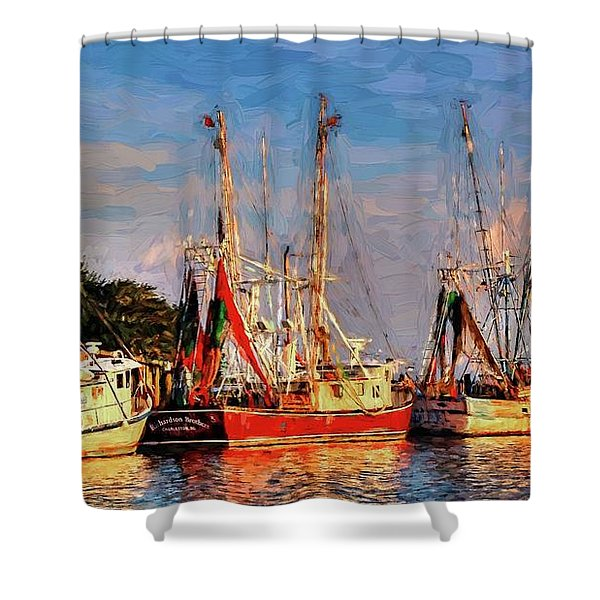 Shrimp Boats Shem Creek In Mt. Pleasant  South Carolina Sunset Shower Curtain