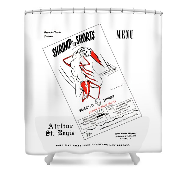 Shrimp In Shorts 1950s Shower Curtain