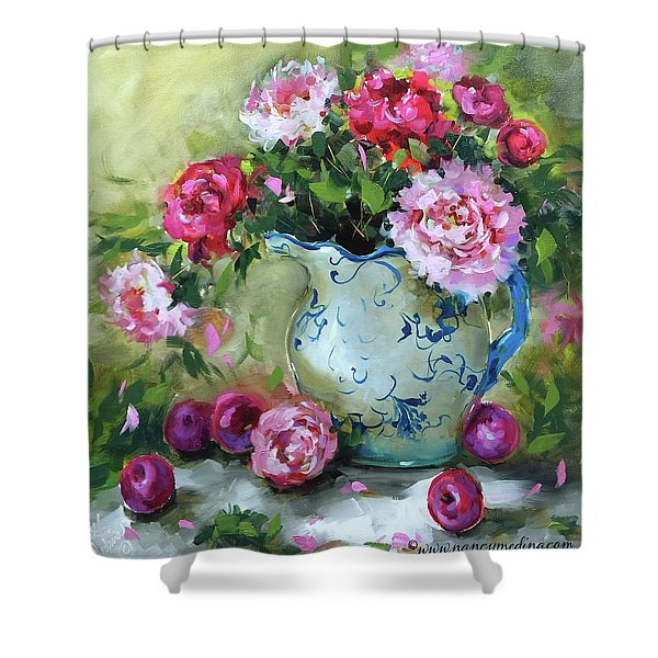 Shy Plums And Pink Peonies Shower Curtain