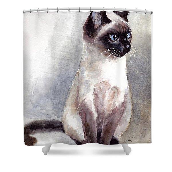 Siamese Kitten Portrait Shower Curtain