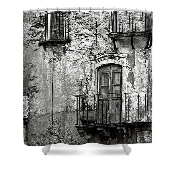 Shower Curtain featuring the photograph Sicilian Medieval Facade by Silva Wischeropp
