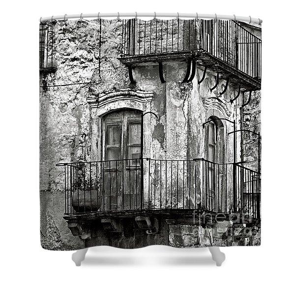 Sicilian Medieval Facade Shower Curtain