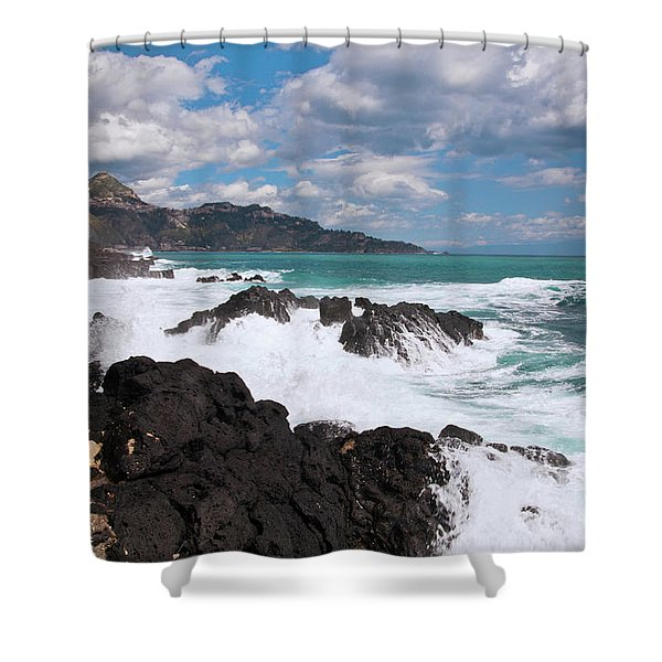 Shower Curtain featuring the photograph Sicilian Stormy Sound by Silva Wischeropp