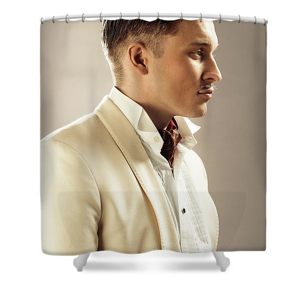 Side Profile Of Character Playing Errol Flynn Shower Curtain