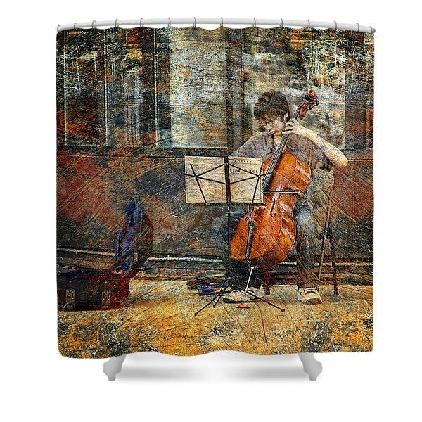 Sidewalk Cellist Shower Curtain