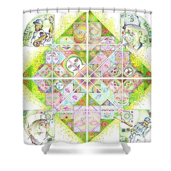 Sierpinski's Baseball Diamond Shower Curtain