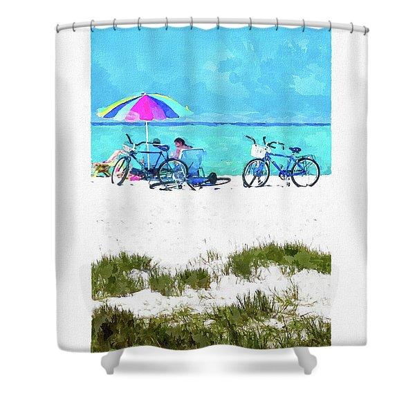 Siesta Key Beach Bikes Shower Curtain