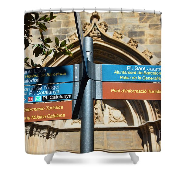 Sign La Rambia Which Way? Shower Curtain