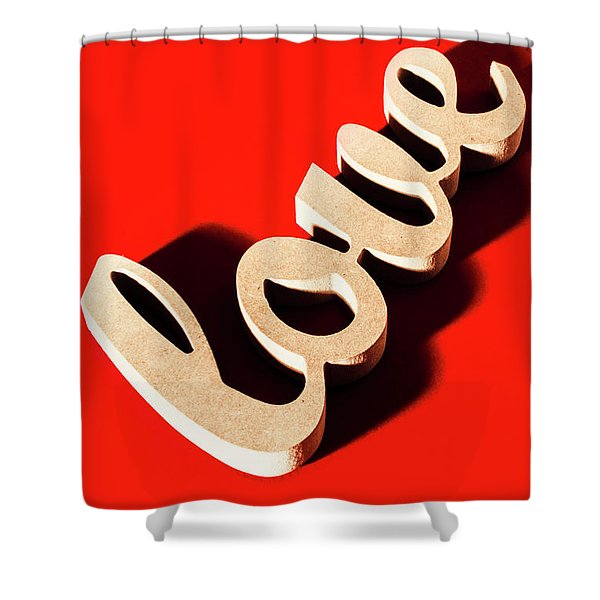 Sign Of Wooden Love Shower Curtain