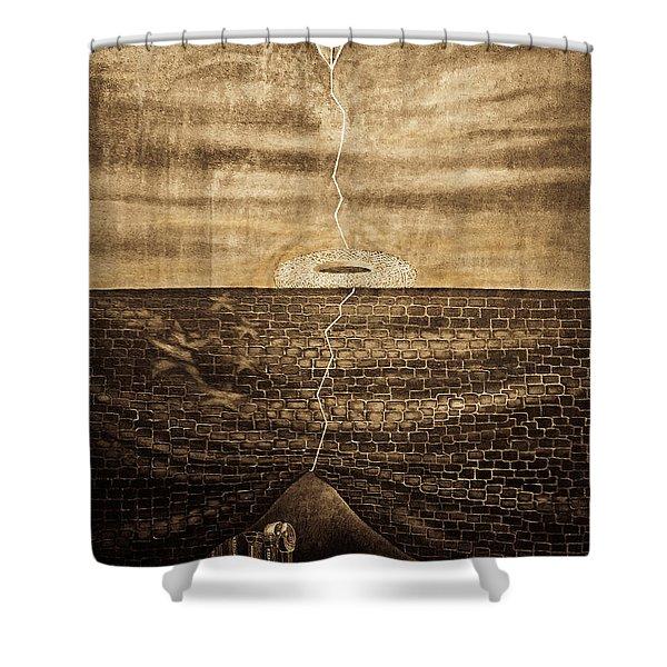 Silent Echo Beige Shower Curtain