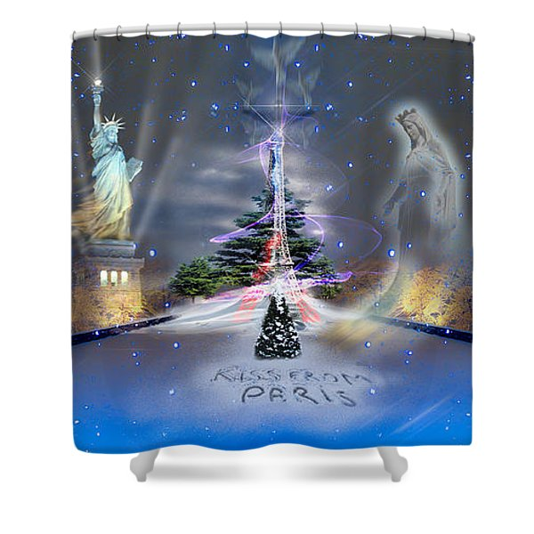 Silent Night  A Kiss From Paris And Back Shower Curtain