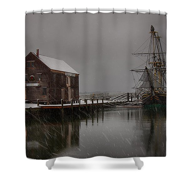Silently The Snow Falls. Shower Curtain