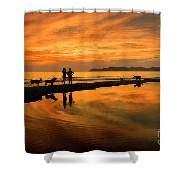 Silhouette And Amazing Sunset In Thassos Shower Curtain