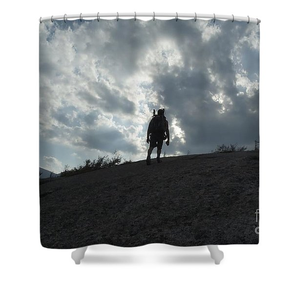 Shower Curtain featuring the photograph Silhouette Of A Hiker On Middle Sugarloaf Mountain - White Mountains New Hampshire Usa by Erin Paul Donovan