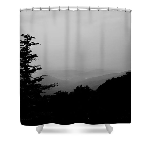 Silhouette Of A Tree In The Mountains Shower Curtain