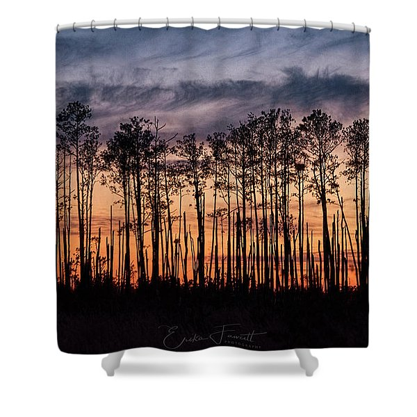 Silhouetted Sunset Shower Curtain