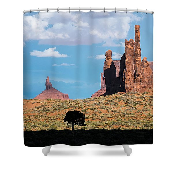 Silhouetted Tree At Monument Valley Shower Curtain