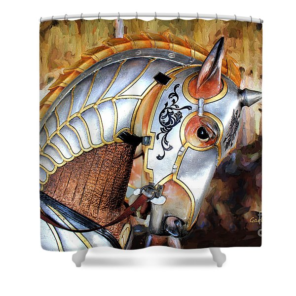 Silver Carousel Horse II Shower Curtain