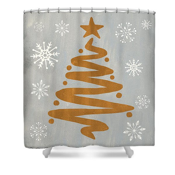 Silver Gold Tree Shower Curtain