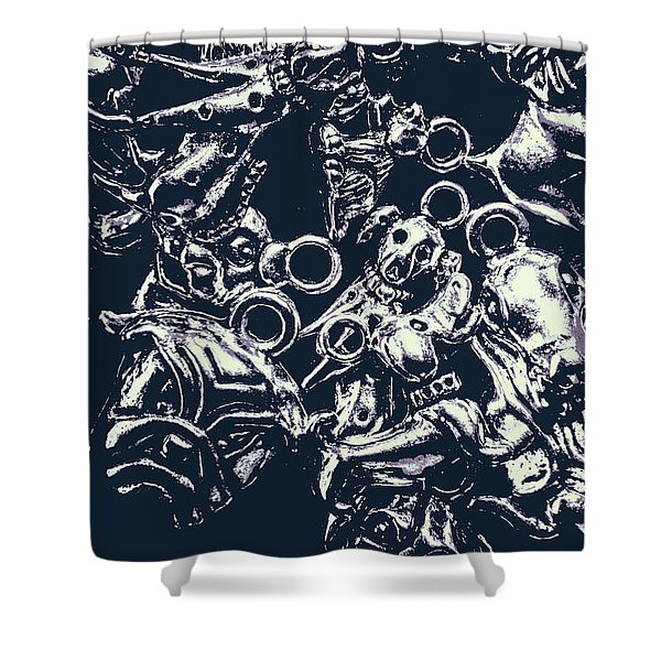 Silver Hounds Shower Curtain