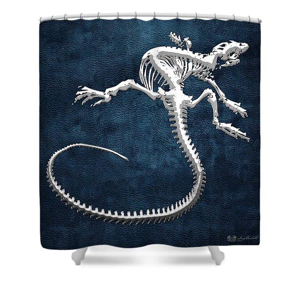 Silver Iguana Skeleton On Blue Silver Iguana Skeleton On Blue  Shower Curtain