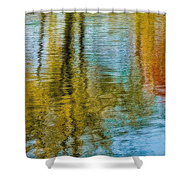 Silver Lake Autum Tree Reflections Shower Curtain