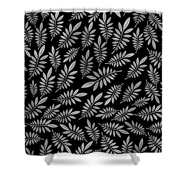 Silver Leaf Pattern 2 Shower Curtain