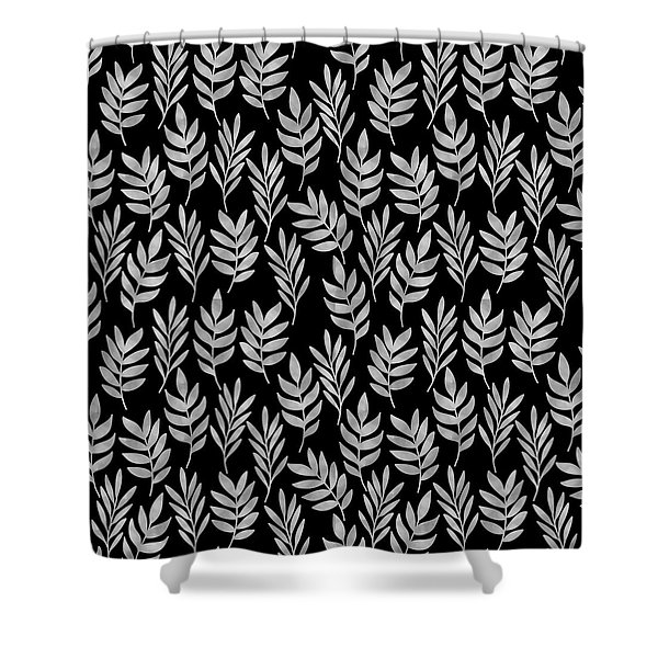 Silver Leaf Pattern Shower Curtain