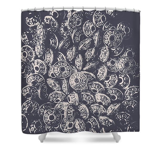 Silver Saucers From Outer Space Shower Curtain