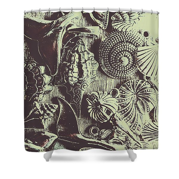 Silver Sea Abstract Shower Curtain