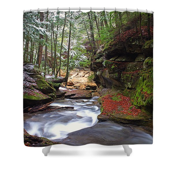 Silver Singing River Shower Curtain