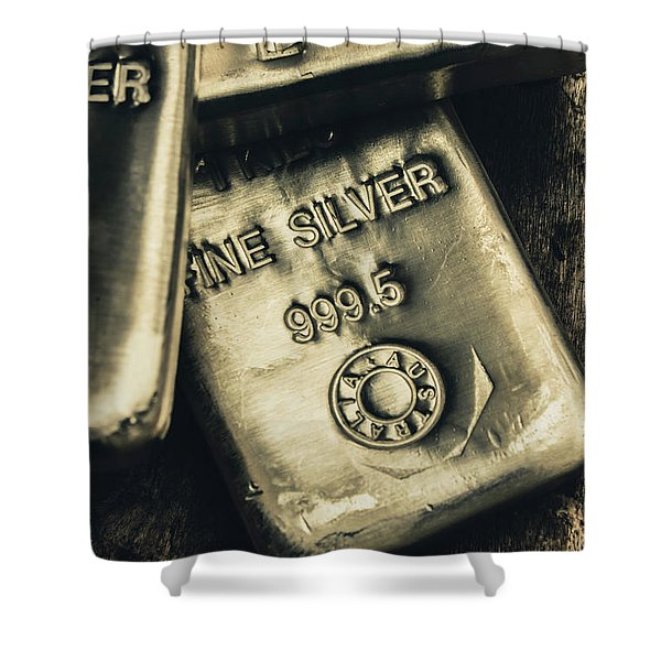 Silver Stackers Artwork Shower Curtain