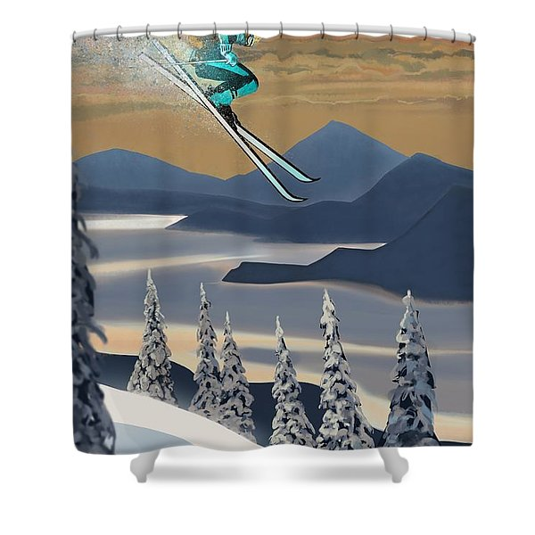 Shower Curtain featuring the painting Silver Star Ski Poster by Sassan Filsoof