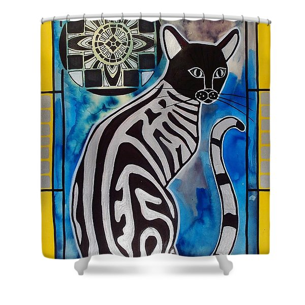 Silver Tabby With Mandala - Cat Art By Dora Hathazi Mendes Shower Curtain