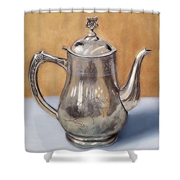 Silver Teapot Shower Curtain